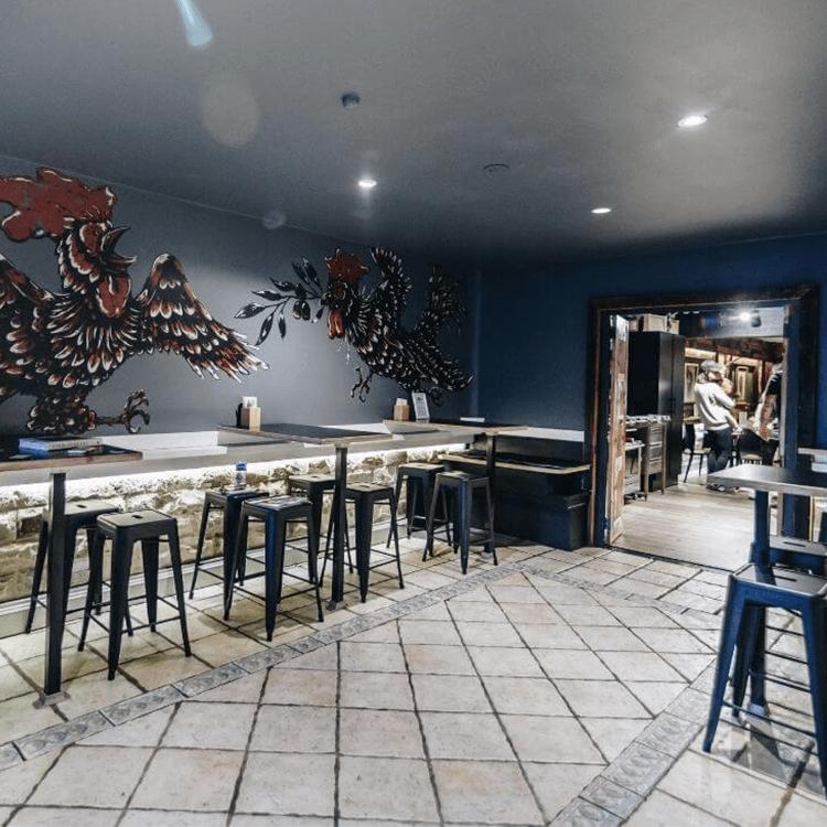 interior chicken shop mural